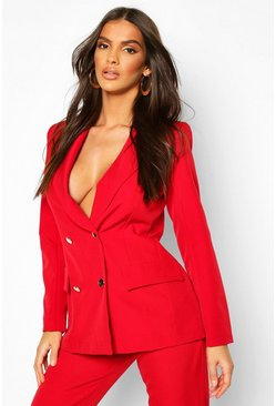 Womens Berry Double Breasted Military Blazer