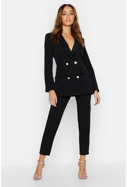 Womens Black Double Breasted Military Blazer