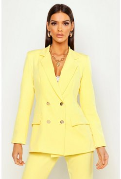 Womens Bright yellow Double Breasted Military Blazer