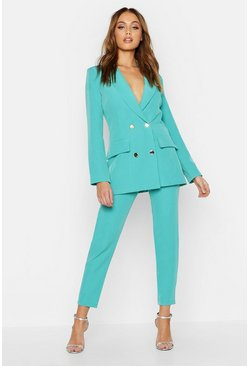 Double Breasted Military Blazer, Jade