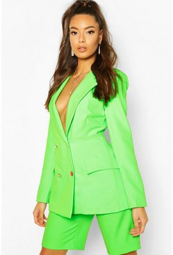 Neon Double Breasted Blazer, Neon-green