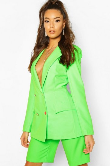 Womens Neon-green Neon Double Breasted Blazer