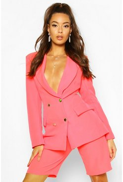 Womens Neon-pink Neon Double Breasted Blazer