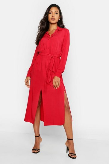 Womens Blood red Woven Belted Shirt Midi Dress