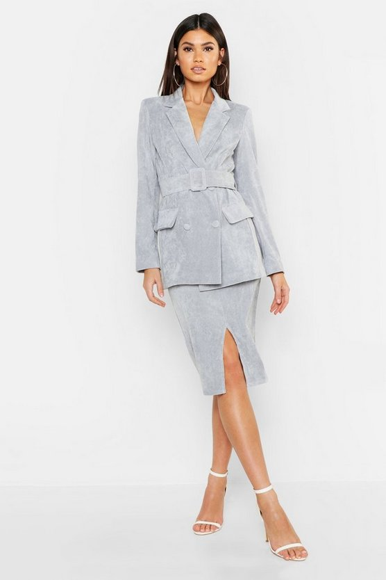 Cord Covered Belt Blazer, Grey, ЖЕНСКОЕ