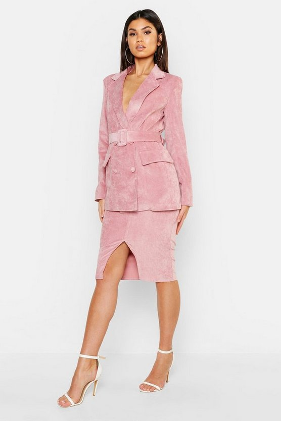 Womens Soft pink Cord Covered Belt Blazer