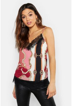 Womens Pink Woven Chain Geo Lace Cami