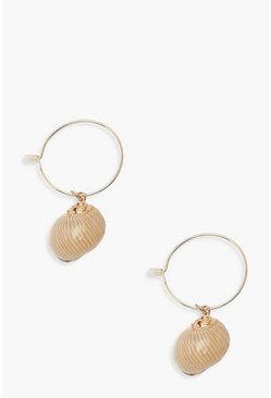 Natural Shell Hoop Earrings, Gold, ЖЕНСКОЕ