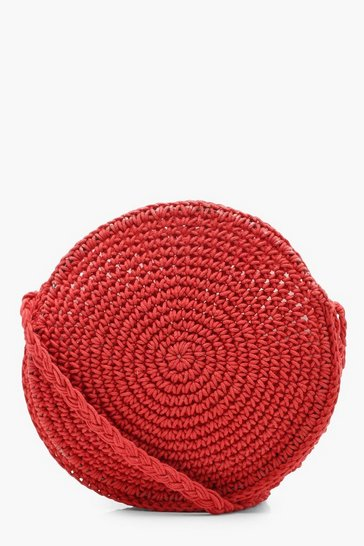Womens Red Large Straw Round Cross Body Bag