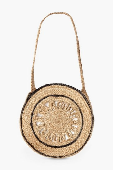 Womens Natural Trim Detail Cut Out Round Straw Bag