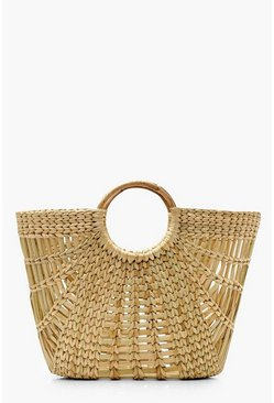 Womens Natural Wooden Handle Structured Straw Bag