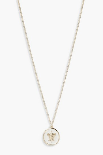 Womens Gold Turtle Faux Enamel Necklace