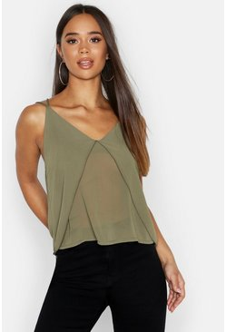 Womens Olive Split Front Chiffon Cami