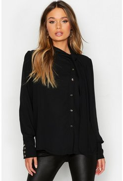 Womens Black Woven Pussybow Button Detail Blouse