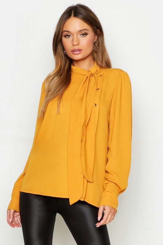 Womens Mustard Woven Pussybow Button Detail Blouse