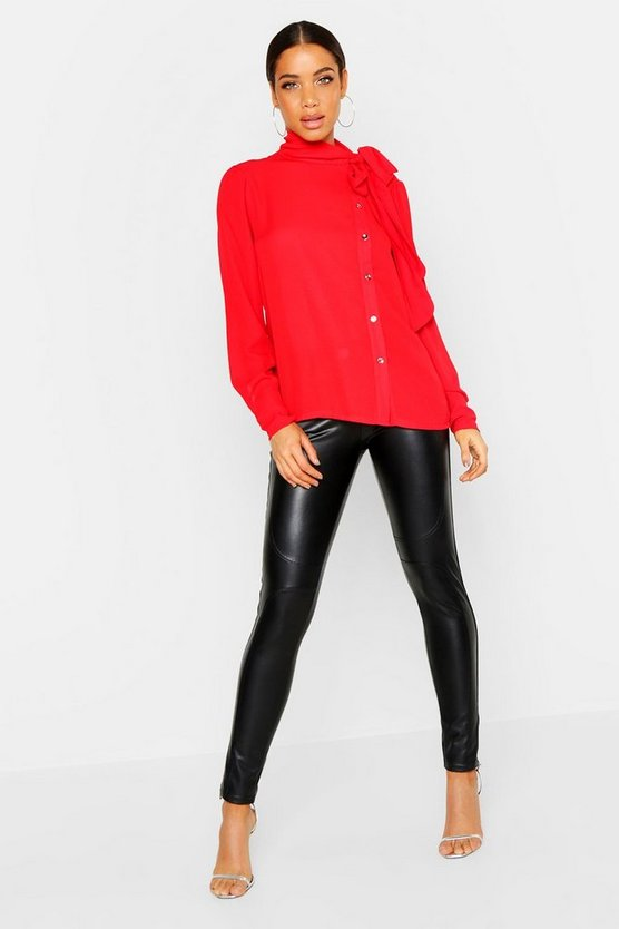 Womens Red Woven Tie Neck Button Detail Blouse