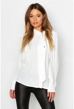 White Woven Pussybow Button Detail Blouse