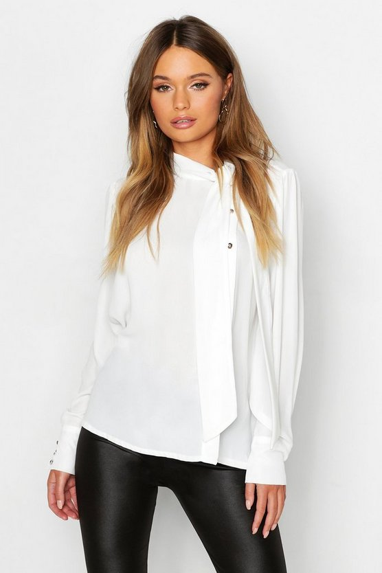 Womens White Woven Tie Neck Button Detail Blouse