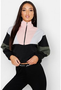 Woven Colour Block Half Zip Sweat, Pink, ЖЕНСКОЕ