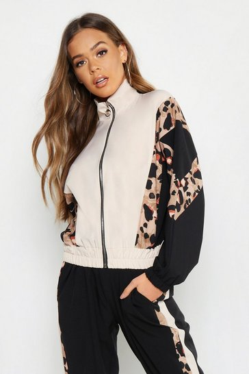 Womens Pink Woven Leopard Panel Zip Through