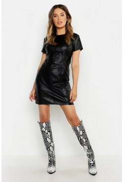 Womens Black Faux Leather Fitted Dress