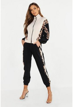 Womens Black Woven Leopard Side Trim Jogger
