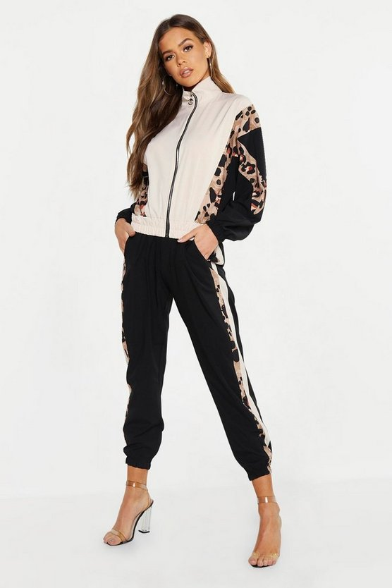 Woven Leopard Side Trim Jogger, Black, Donna