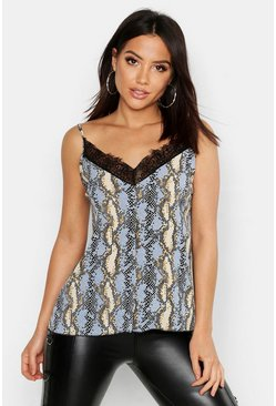 Womens Powder blue Snake Lace Trim Cami