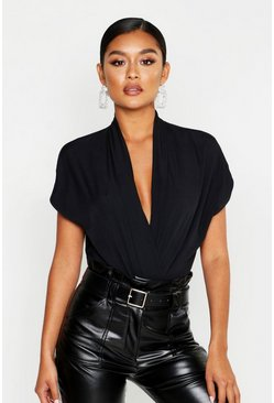 Womens Black Wrap Woven Short Sleeved Bodysuit