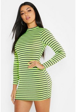 Womens Lime Neon Mesh Stripe Bodycon Dress