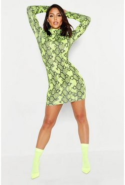 Neon Lime Snake Ribbed Roll Neck Dress, MUJER
