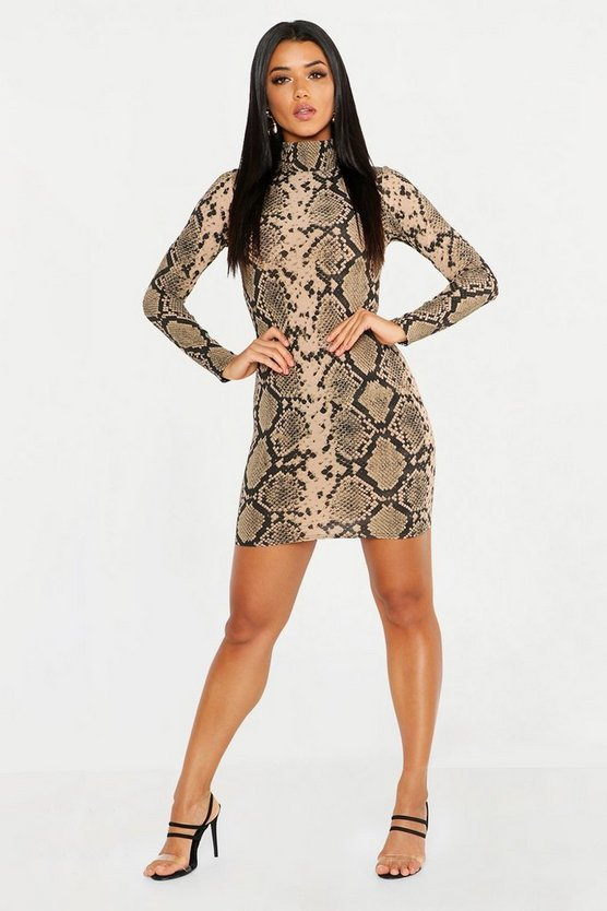 High Neck Long Sleeve Snake Ribbed Mini Dress, Camel, MUJER