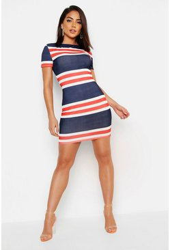 Nautical Stripe Rib Slash Neck Mini Dress, Navy, Donna