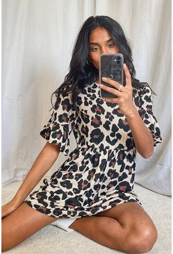 Leopard Print Smock Dress, Tan