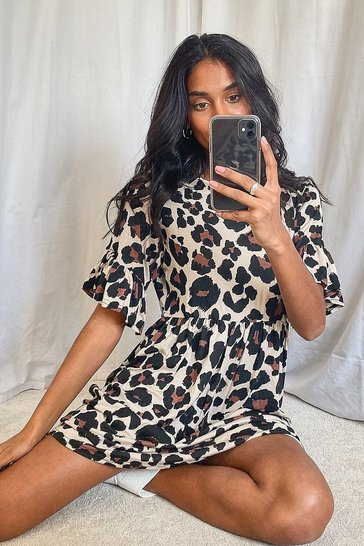 Womens Tan Leopard Print Smock Dress
