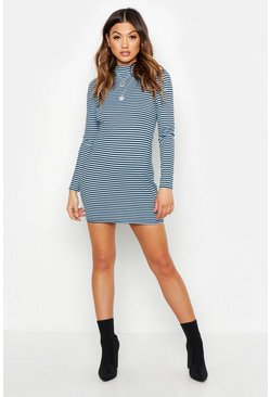 Blue Notch Neck Stripe Rib Midi Dress