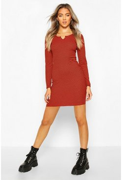 Notch Neck Stripe Rib Midi Dress, Red