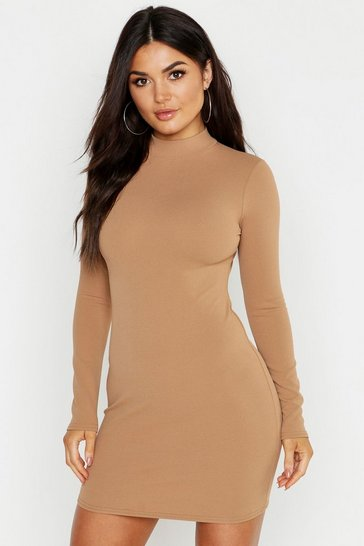 Womens Camel High Neck Scuba Crepe Long Sleeve Bodycon Dress
