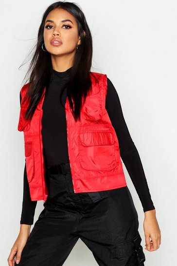 Womens Red Utility Gilet