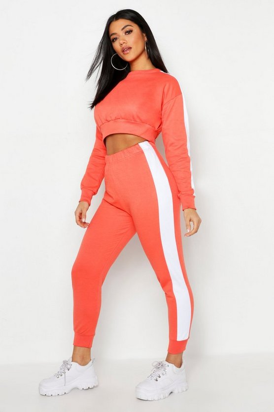 Womens Apricot Side Stripe Cropped Sweat And Jogger Set
