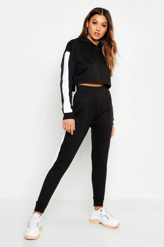 Womens Black Side Stripe Cropped Hoody And Jogger Set