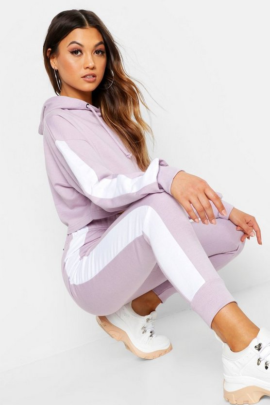 Side Stripe Cropped Hoody And Jogger Set, Lilac, MUJER