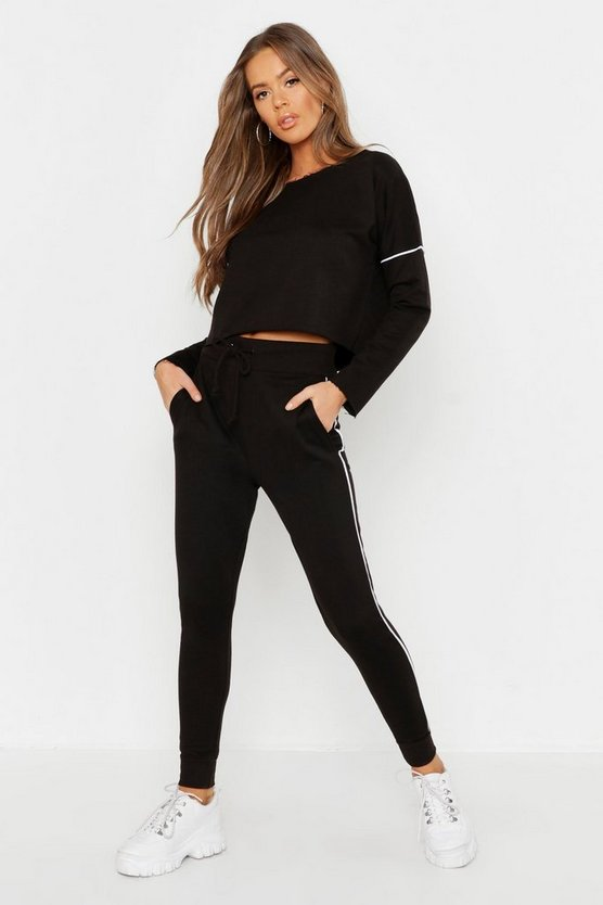 Womens Black Raw Edge Cropped Sweat & Piping Detail Jogger Set
