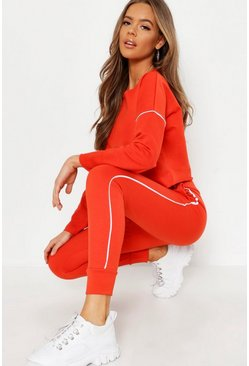 Womens Red Raw Edge Cropped Sweat & Piping Detail Jogger Set