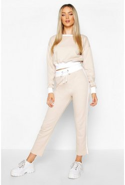 Womens Sand Contrast Piping Ankle Grazer Tracksuit