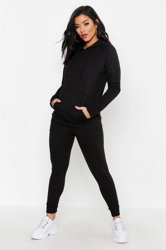 Womens Black Oversized Zip Through Heavy Weight Tracksuit