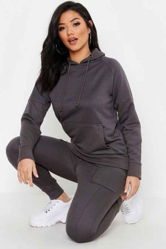 Womens Charcoal Oversized Zip Through Heavy Weight Tracksuit