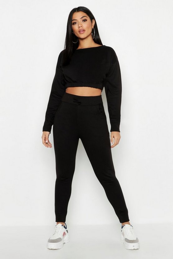 Slash Neck Elastic Waist Top & Jogger Set, Black, ЖЕНСКОЕ