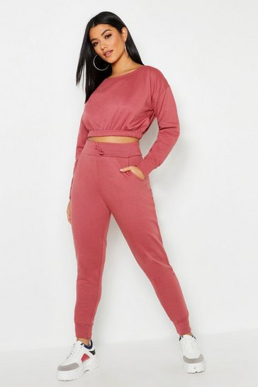 Womens Hot pink Slash Neck Elastic Waist Top & Jogger Set