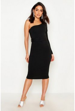 Womens Black One Shoulder Belted Midi Dress